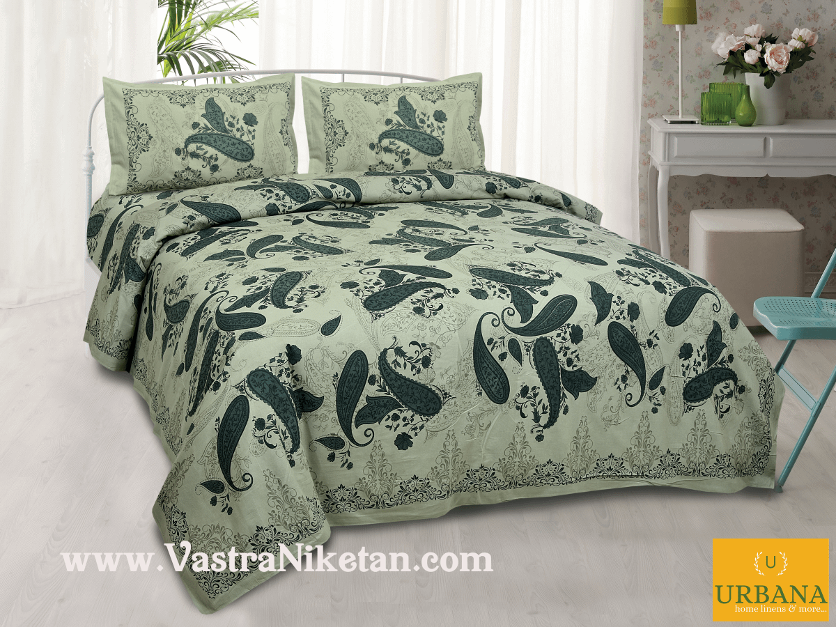 Paisley Cotton Double Bedsheet King Size with 2 Pillow Covers Green