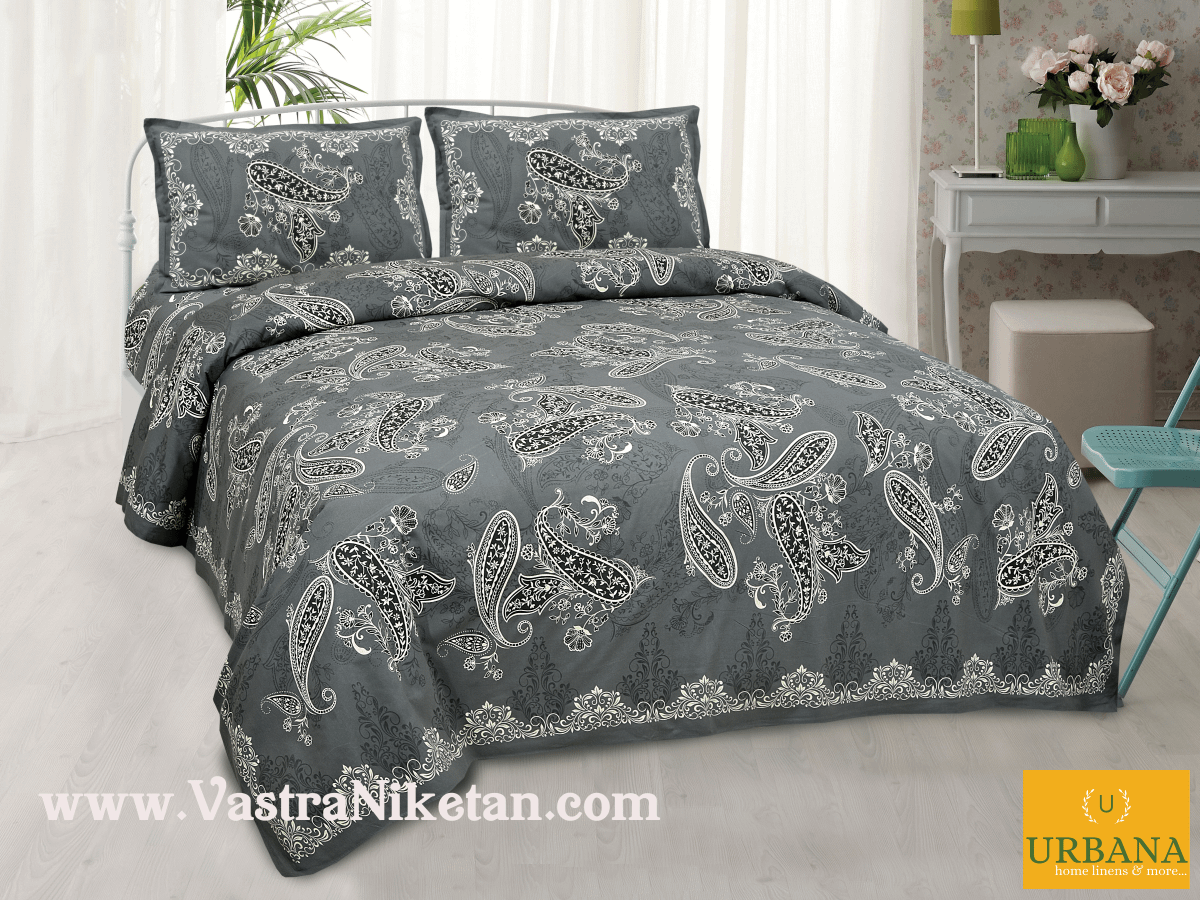 Paisley Cotton Double Bedsheet King Size with 2 Pillow Covers Grey