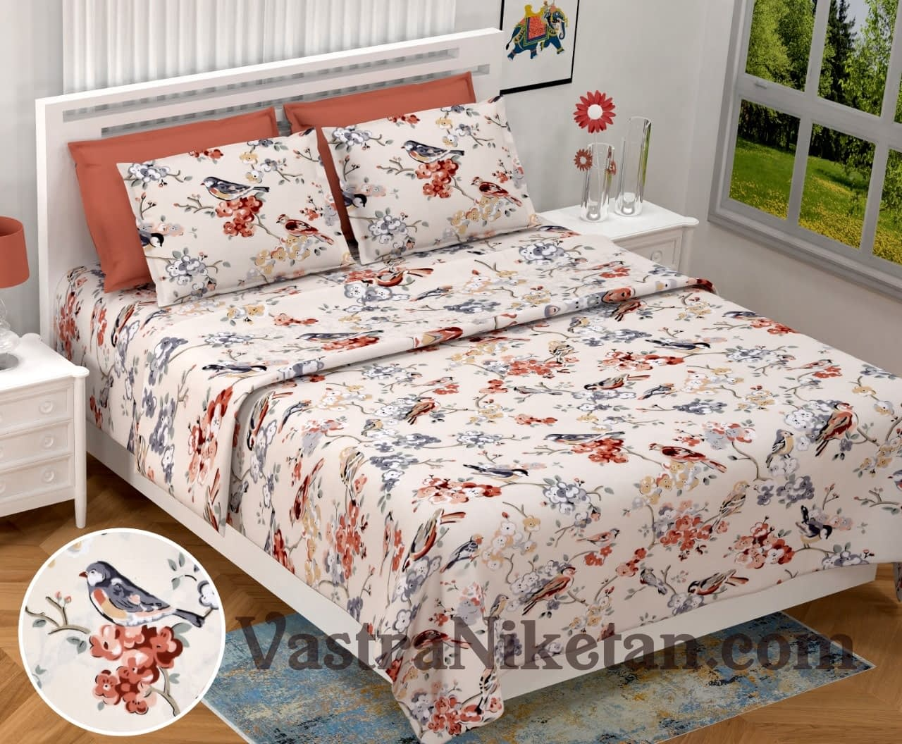 Heritage King Size Double Bedsheet with Sparrow and Floral print
