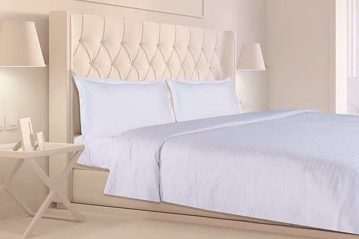 white satin stripe bed sheet