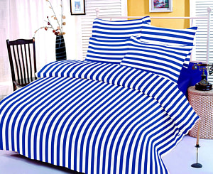 BLUE STRIPED (100% COTTON 1 DOUBLE 90X100 INCH BED SHEET WITH 2 PILLOW COVERS)
