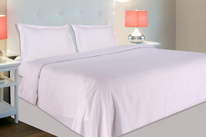 210 tc white satin stripe bedsheet