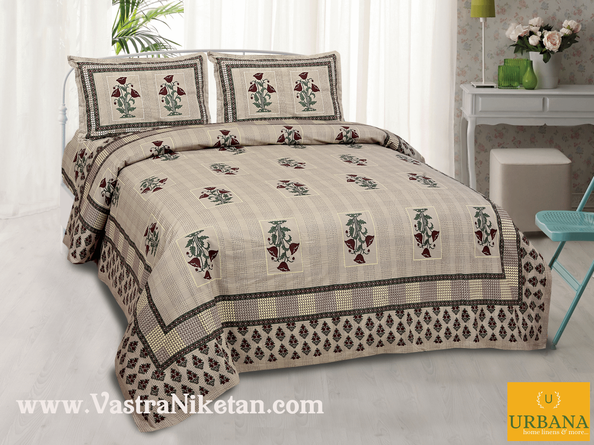 Poppy Cotton Double Bedsheet King Size with 2 Pillow Covers Brown