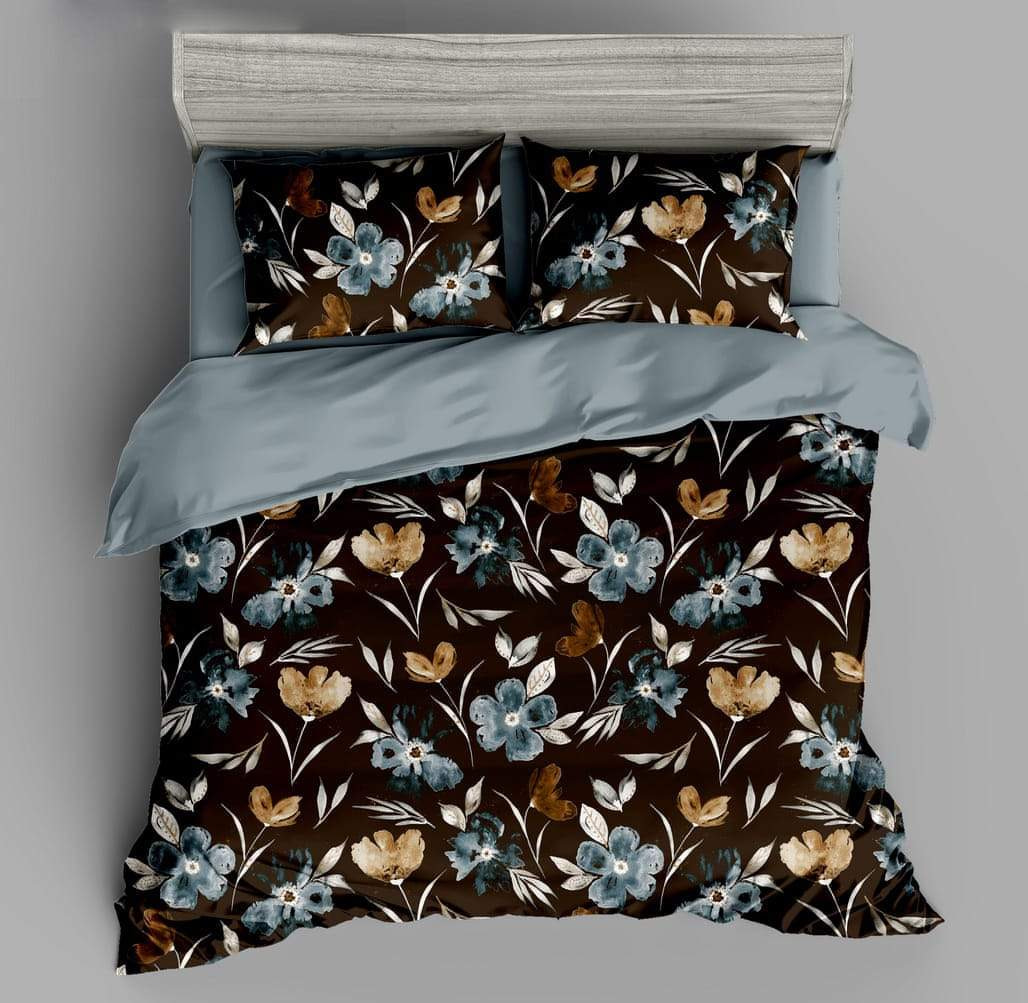 URBANA Designer Coffee Color Floral Print King Size Bed Sheet