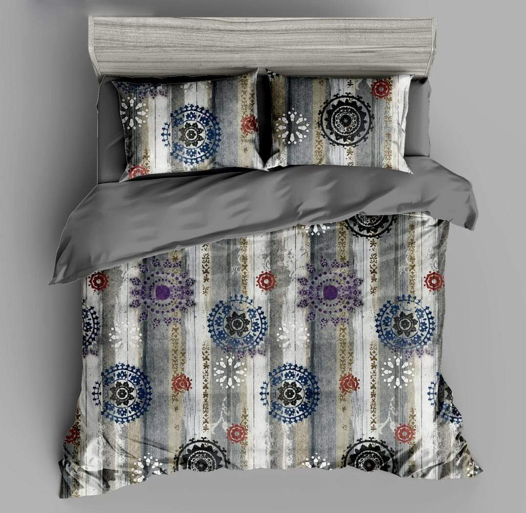 URBANA Designer King Size Multi Color Oriental Design Bed Sheet with 2 Pillow Covers (108×018 Inch)