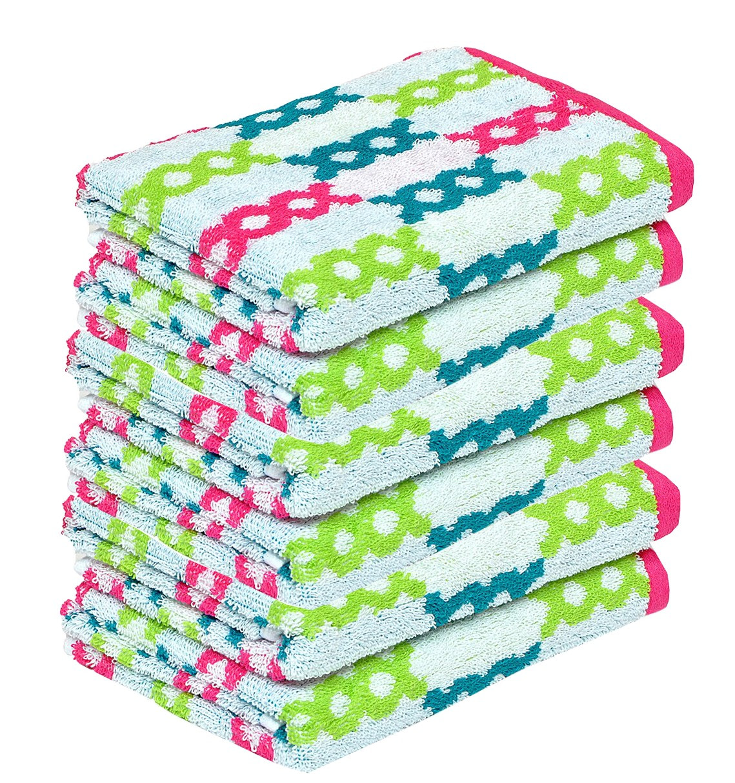 Nova Home Splendid Cotton Quick Dry & High Absorbent Multicolor Hand Towel 360 GSM -16 x 24 Inch - Set of 6