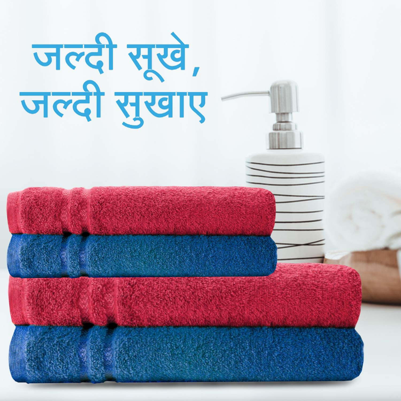 Welspun Quick Dry 375 GSM Pure Cotton Large Bath Towel Blue