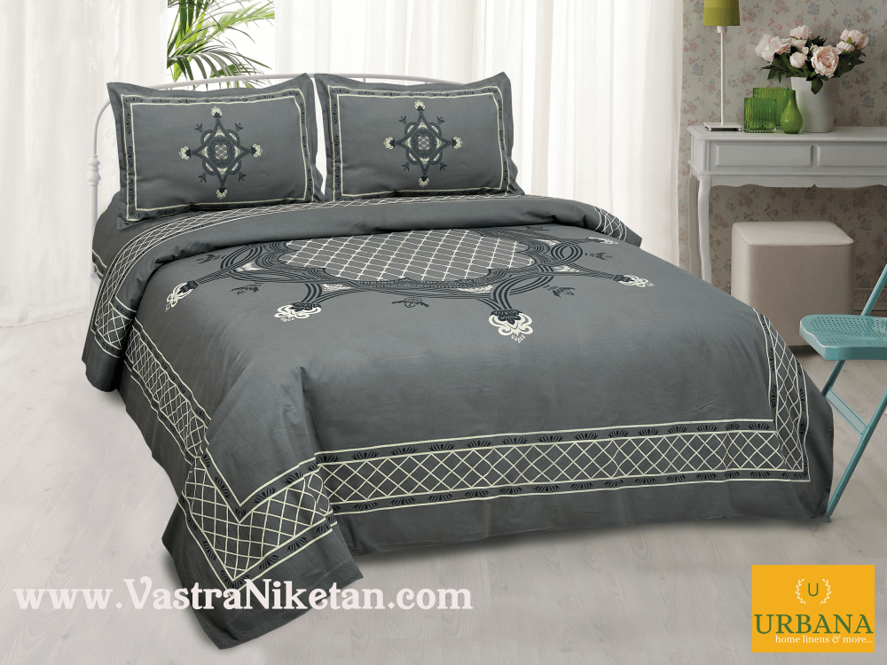 Aura Cotton Double Bedsheet King Size with 2 Pillow Covers Grey