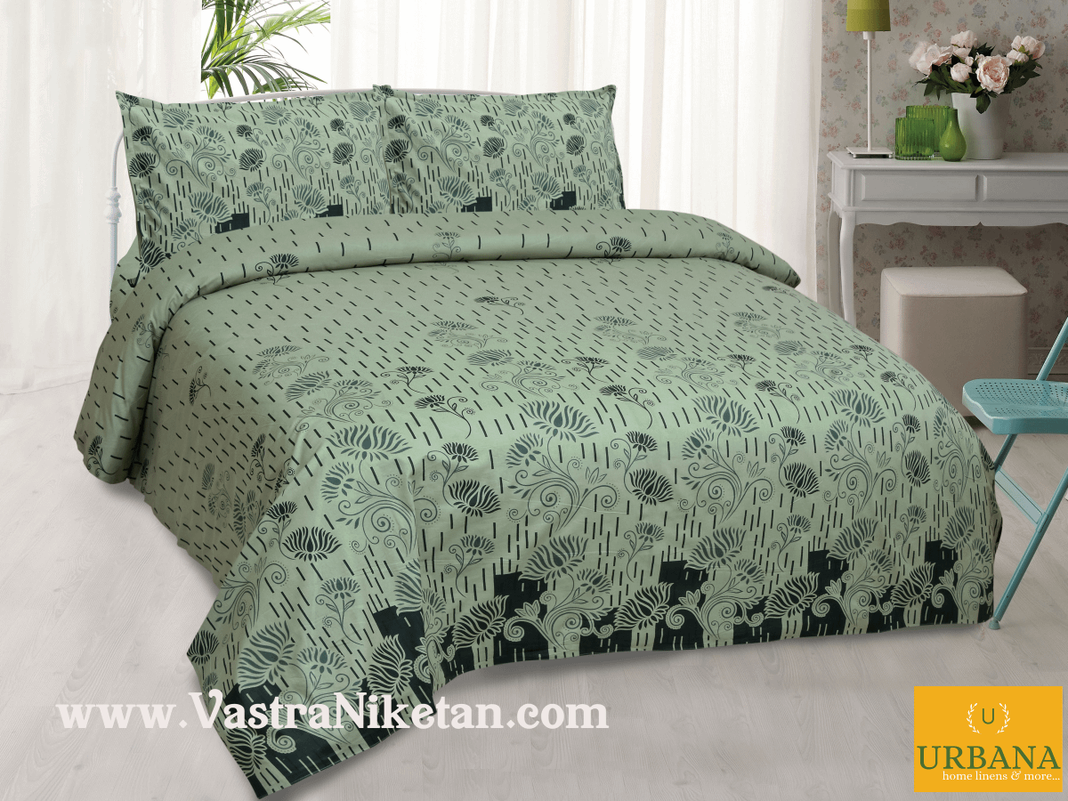 Lotus Cotton Double Bedsheet King Size with 2 Pillow Covers Green