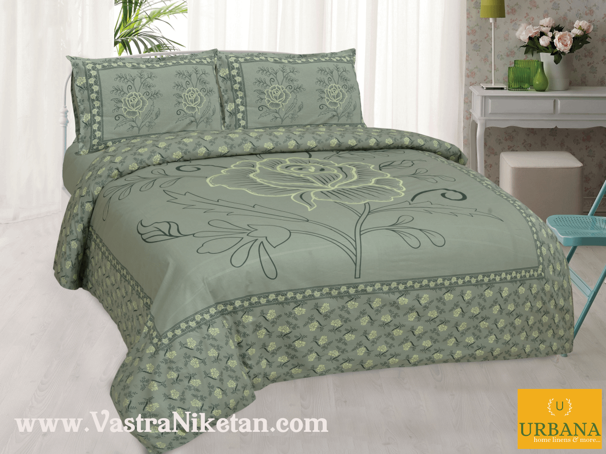 Rose Cotton Double Bedsheet King Size with 2 Pillow Covers Green