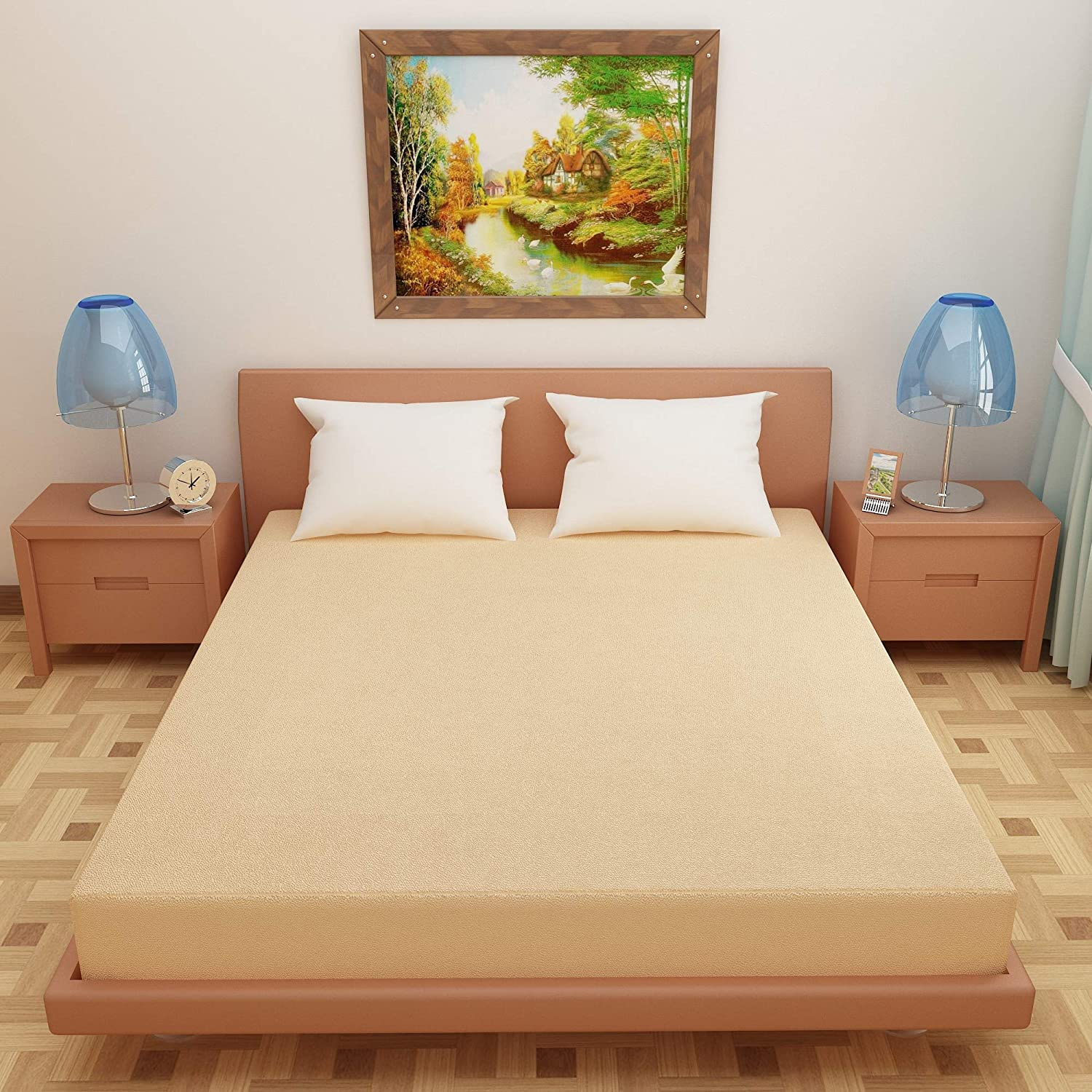 DREAM CARE Breathable and Waterproof Terry Cloth Elastic Fitted Mattress Protector Beige