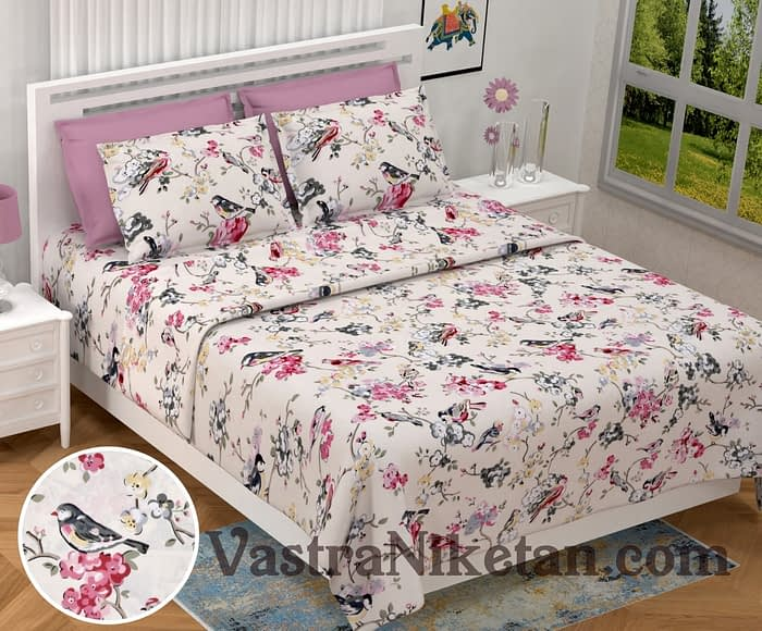Heritage King Size Sparrow Peach Bedsheet