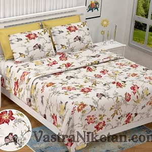 Heritage King Size Three Birds Peach Bedsheet