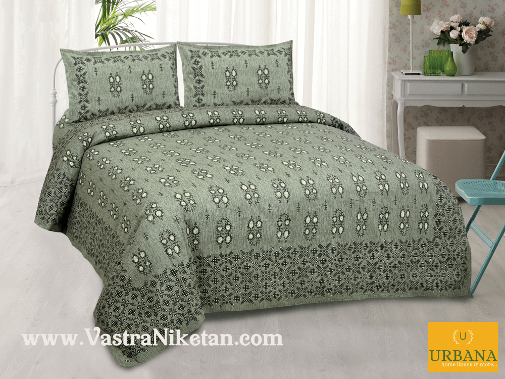 Cutwork Cotton Double Bedsheet King Size with 2 Pillow Covers Green