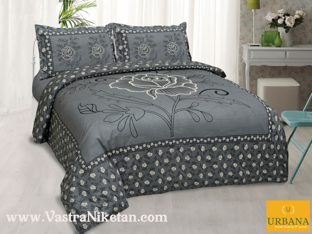 Rose Cotton Double Bedsheet King Size with 2 Pillow Covers Grey