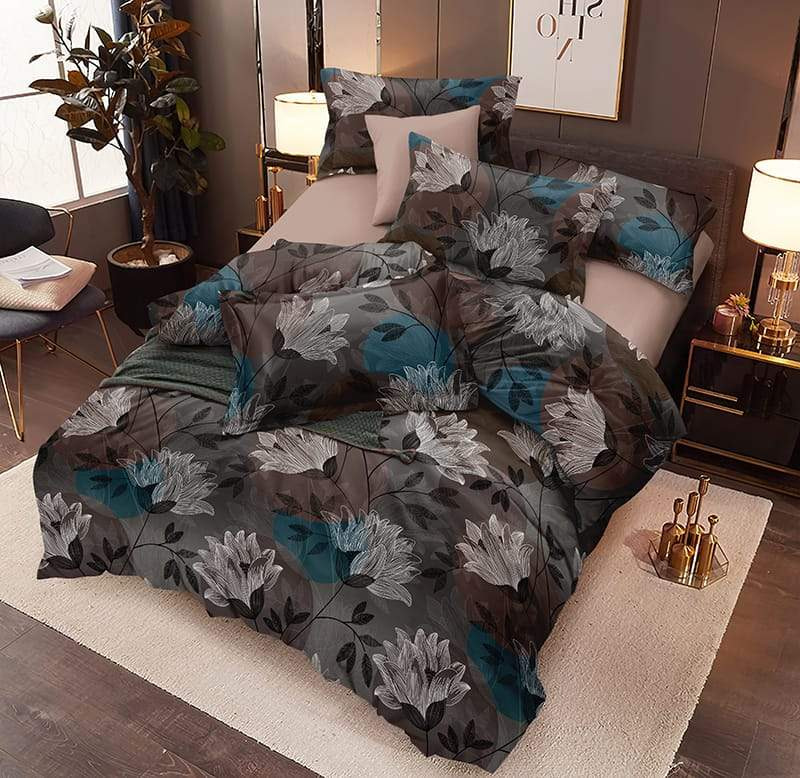 URBANA grey turquoise floral print double bed sheet