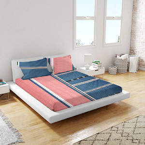 URBANA Poly Cotton Double Bed Sheet Pink Blue