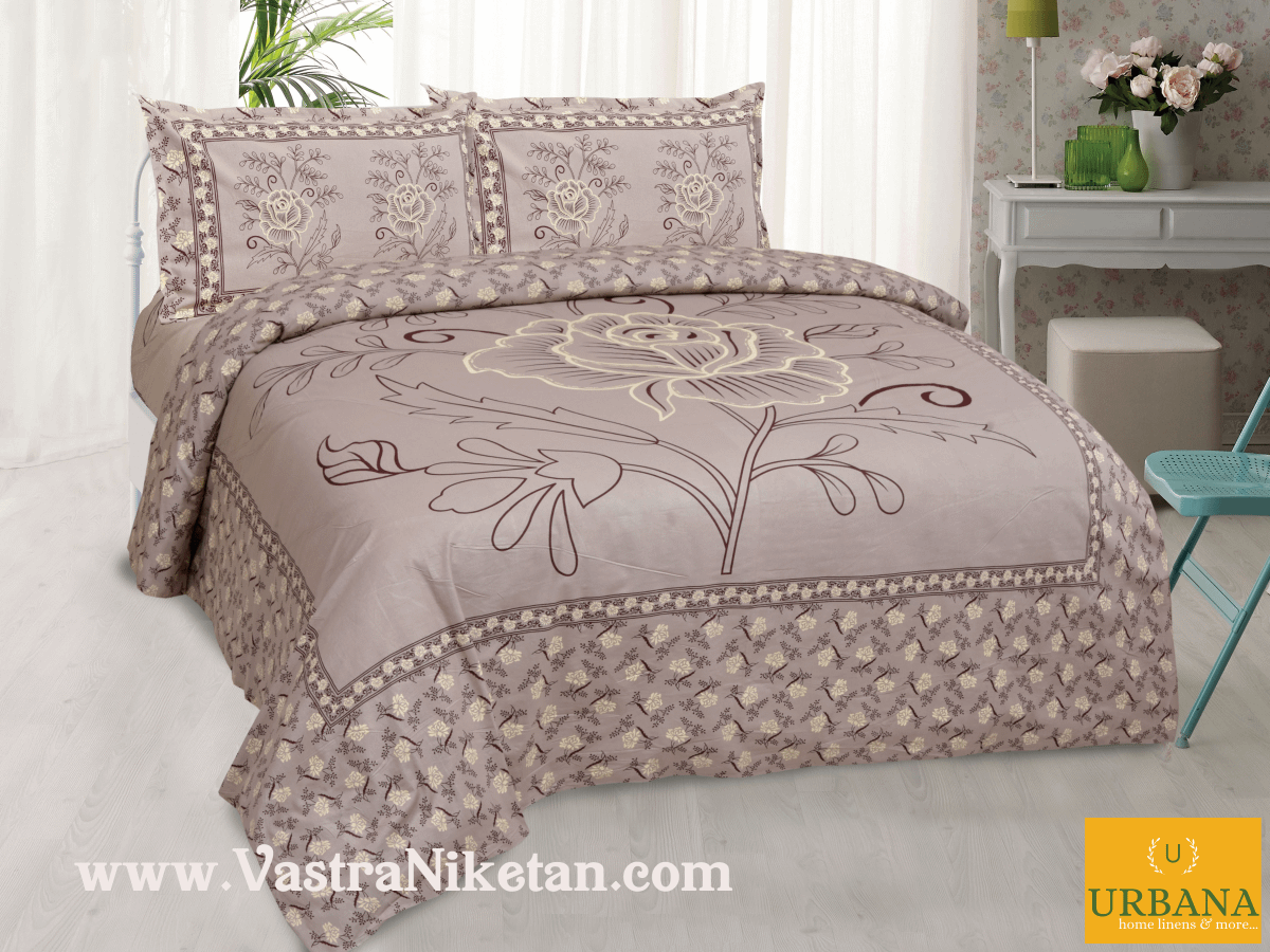 Rose Cotton Double Bedsheet King Size with 2 Pillow Covers Zorba Pink