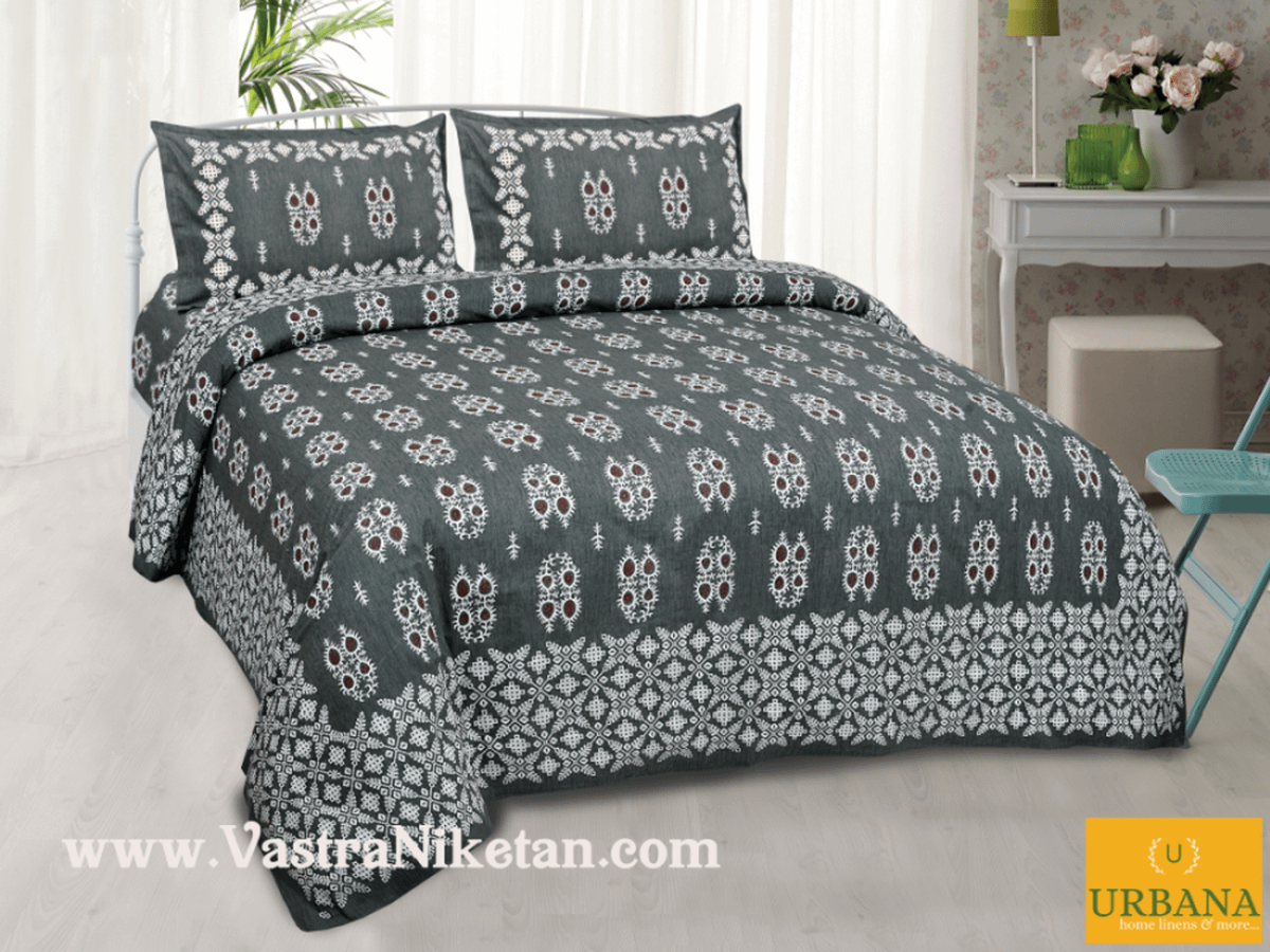 Cutwork Cotton Double Bedsheet King Size with 2 Pillow Covers Grey