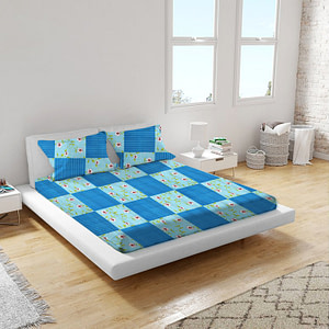 URBANA Poly Cotton Double Bed Sheet Blue Flower and Box Print