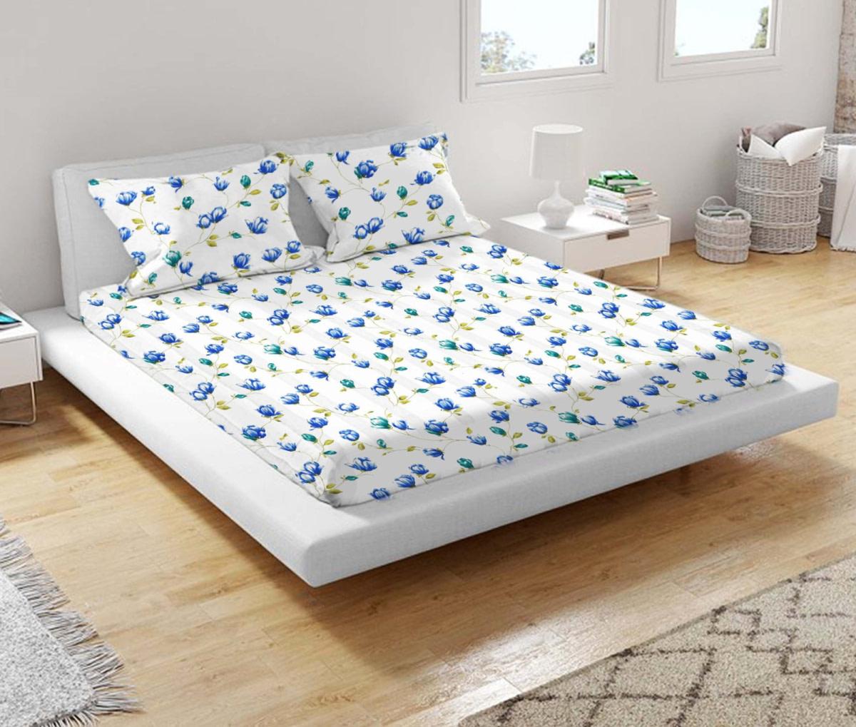 URBANA Blue Green Flower Print Double Bed Sheet 1