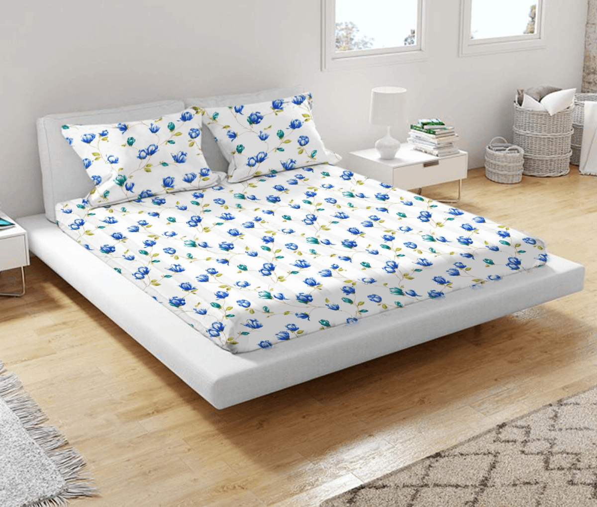 URBANA Blue & Green Flower Print 160TC 100% Cotton Double Bed Sheet with 2 Pillow Covers