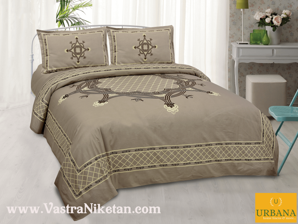 Aura Cotton Double Bedsheet King Size with 2 Pillow Covers Brown Color