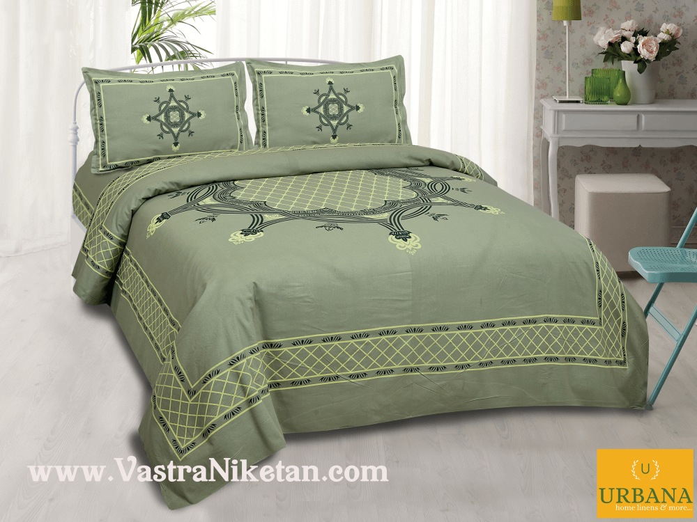 Aura Cotton double Bedsheet King Size with 2 Pillow Covers Green
