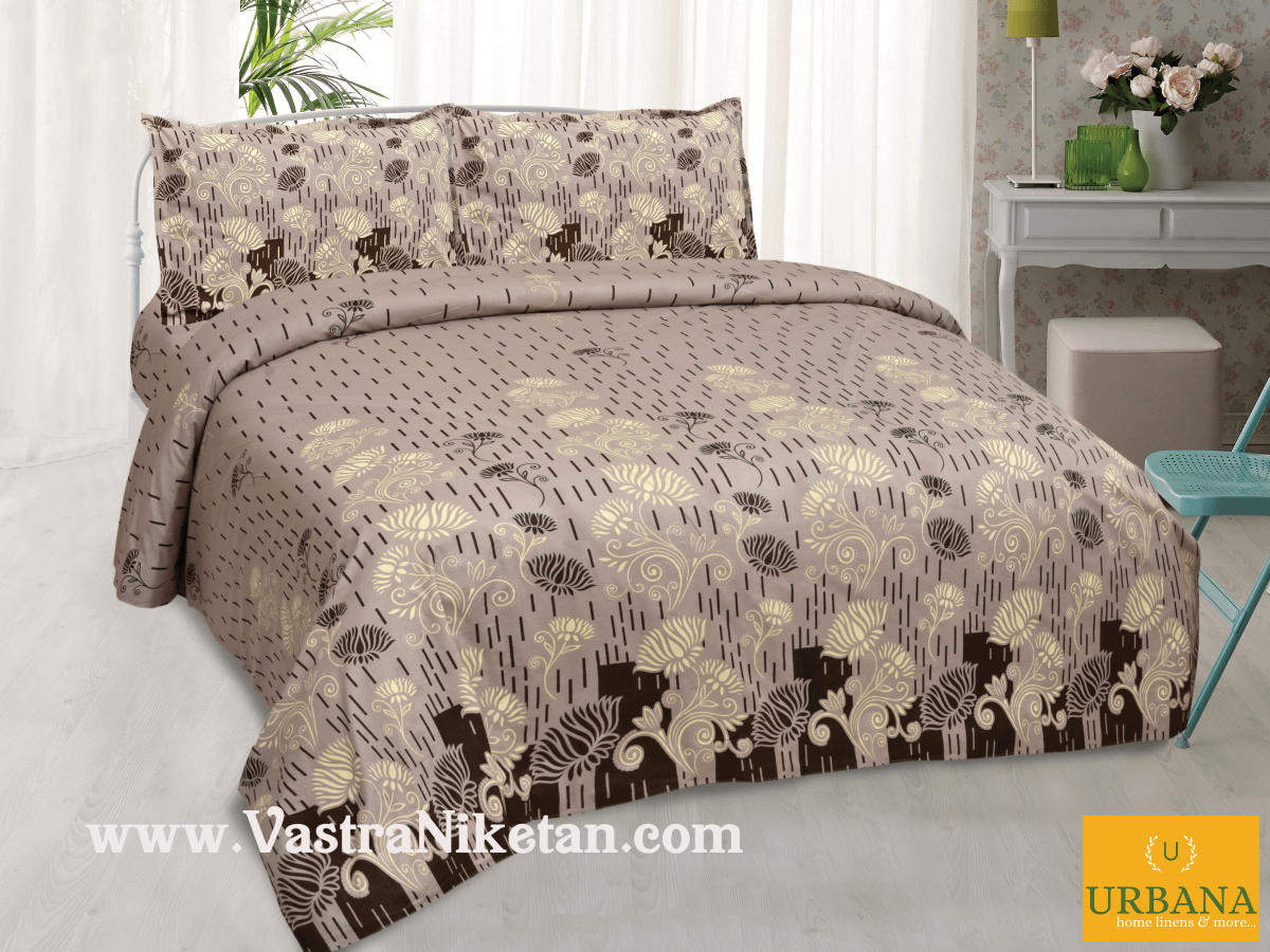 Lotus Cotton Double Bedsheet King Size with 2 Pillow Covers Brown