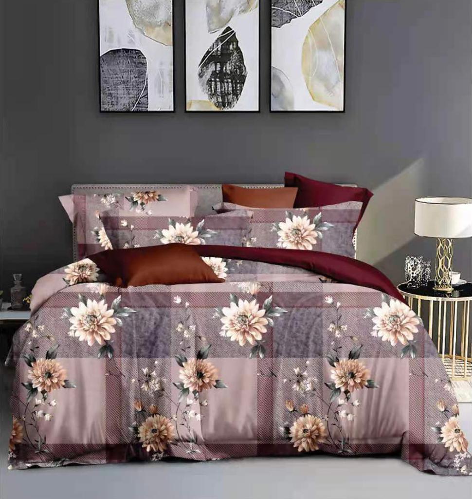 URBANA Designer King Size Flower and Check Print Bed Sheet