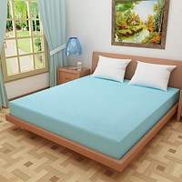 DREAM CARE Breathable and Waterproof Terry Cloth Elastic Fitted Mattress Protector for King Size Bed (78″x72″(6.5×6 Feet), Sky Blue)