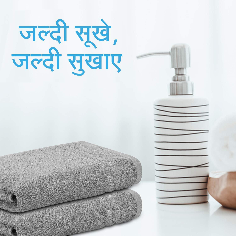 Welspun Quick Dry 375 GSM Pure Cotton Large Bath Towel Grey