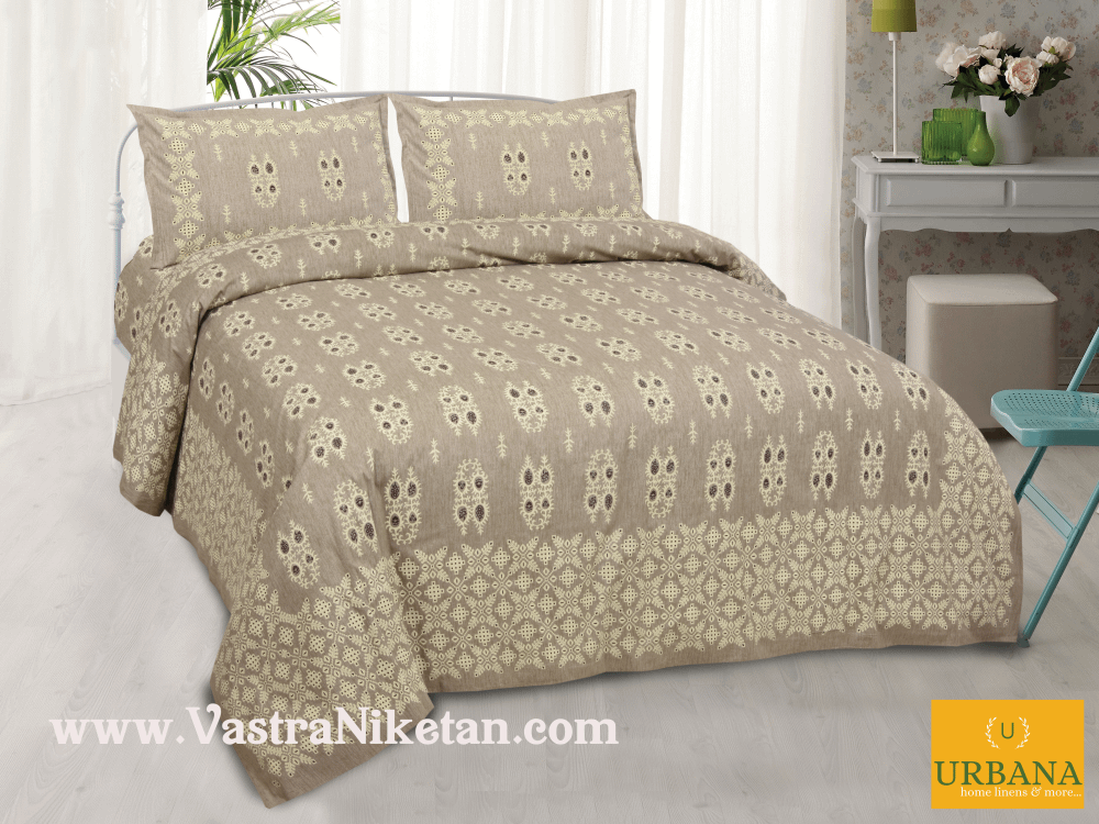 Cutwork Cotton Double Bedsheet King Size with 2 Pillow Covers Brown
