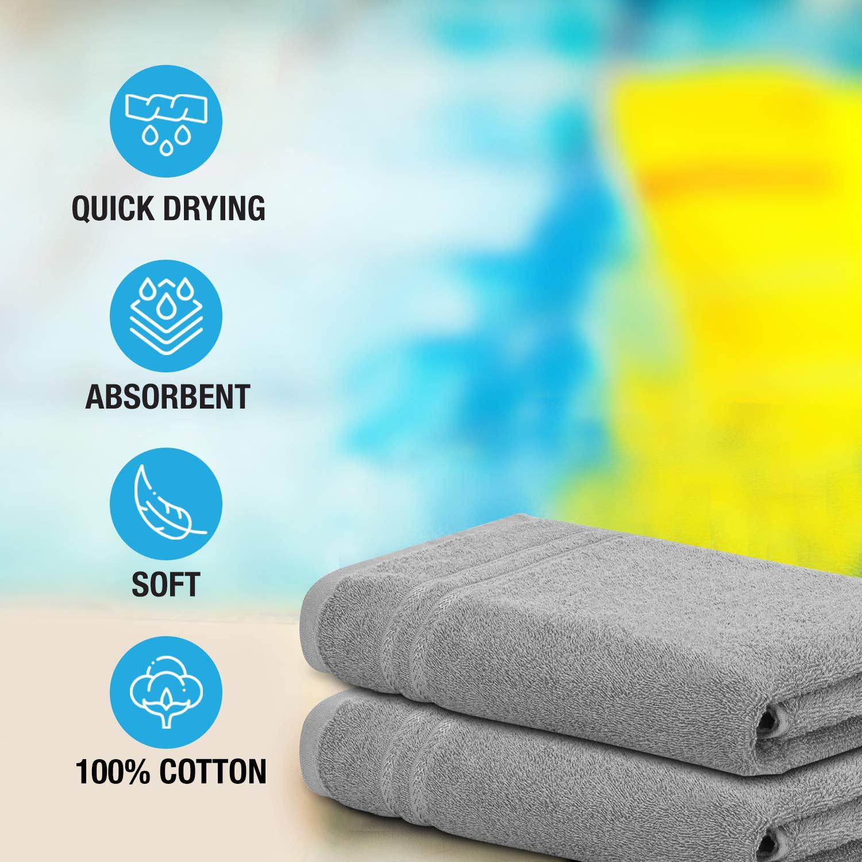 Welspun Quick Dry 375 GSM Large Bath Towel Grey