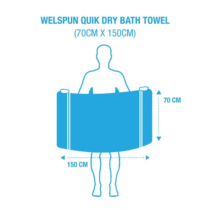 Welspun Quick Dry 375 GSM Bath Towel Size
