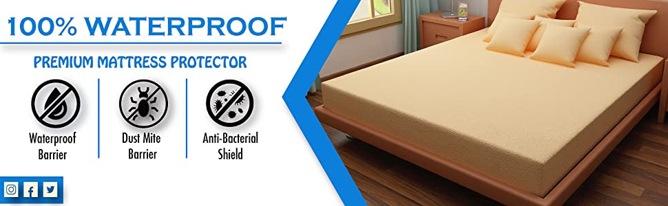 DREAM CARE Breathable and Waterproof Terry Cloth Elastic Fitted Mattress Protector