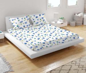 URBANA Blue Green Flower Print Double Bed Sheet