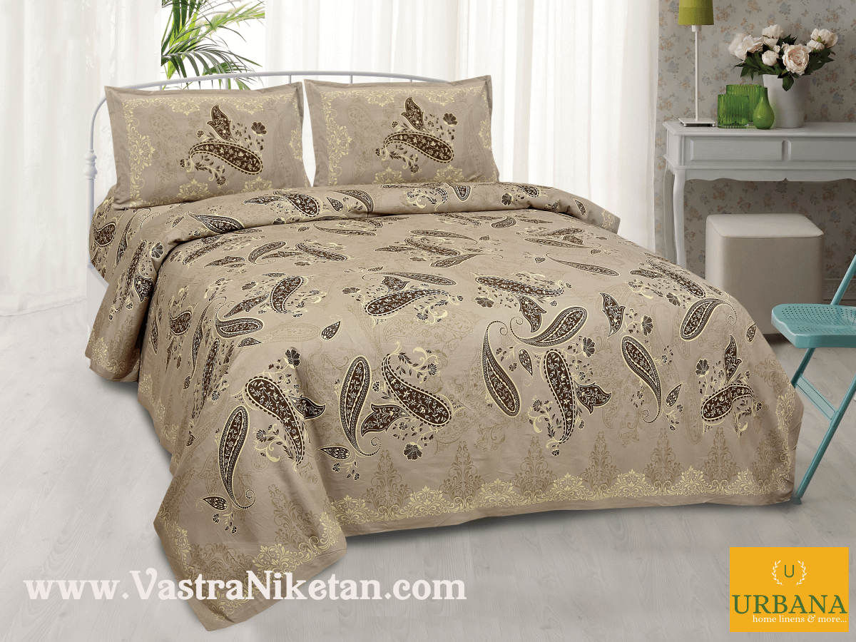 Paisley Cotton Double Bedsheet King Size with 2 Pillow Covers Brown