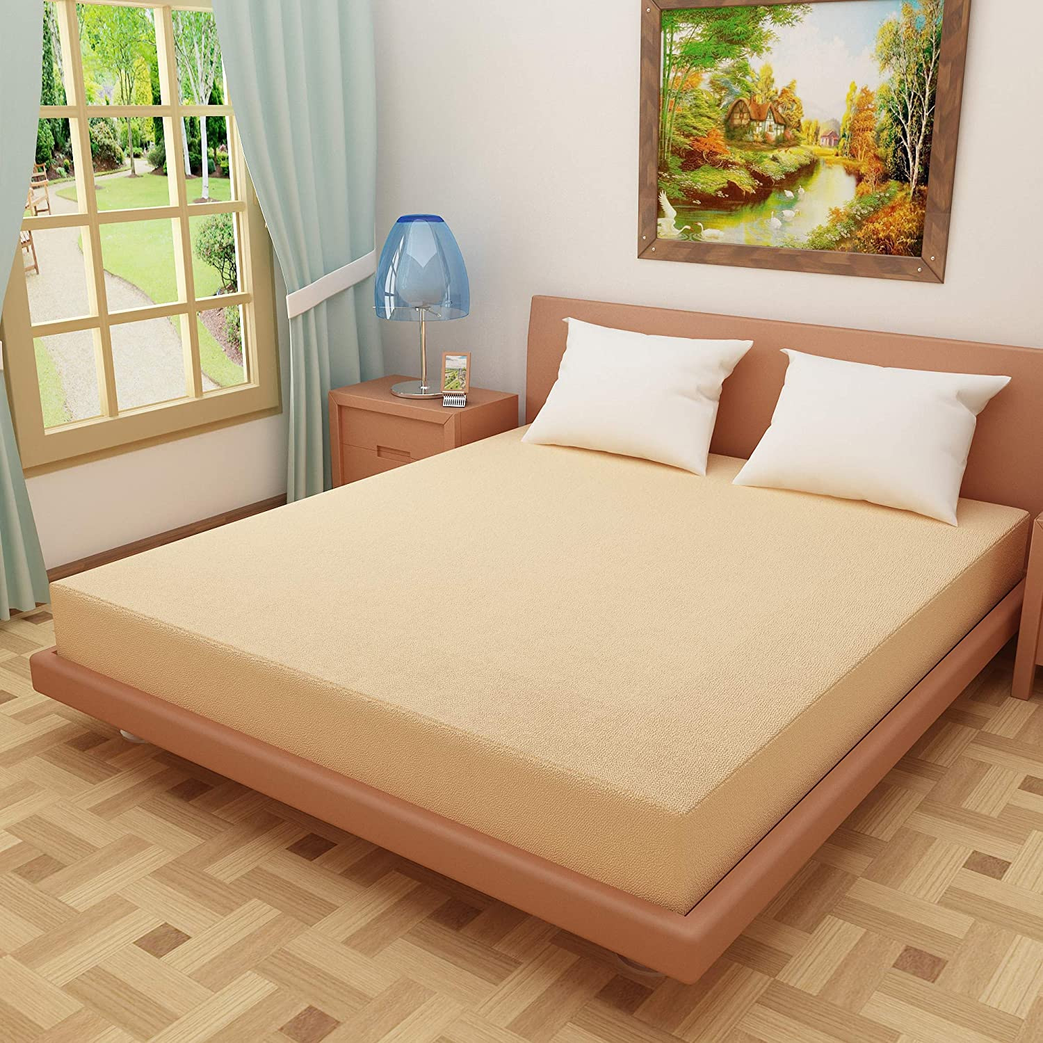 DREAM CARE Breathable and Waterproof Terry Cloth Elastic Fitted Mattress Protector for King Size Bed (78″x72″(6.5×6 Feet), Beige)