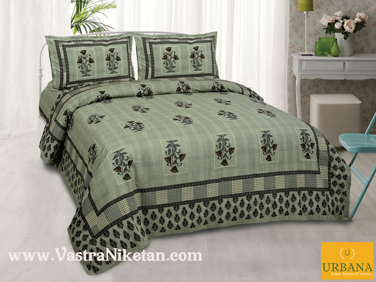 Poppy Cotton Double Bedsheet King Size with 2 Pillow Covers Green